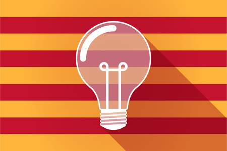 catalonia: Illustration of a long shadow Catalonia vector flag with a light bulb