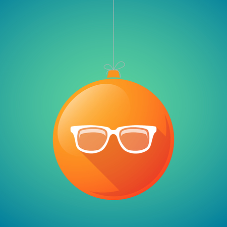 eye balls: Illustration of a long shadow vector christmas ball icon with a glasses