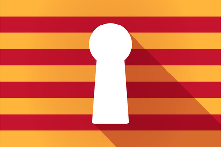 key hole: Illustration of a long shadow Catalonia vector flag with a key hole