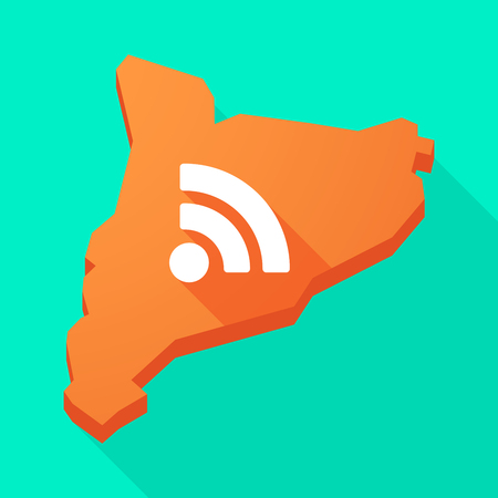 catalonia: Illustration of a Catalonia long shadow vector icon map with an RSS sign