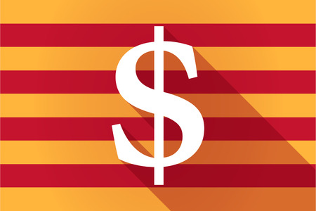 financial official: Illustration of a long shadow Catalonia vector flag with a dollar sign