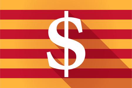 autonomia: Ilustraci�n de una larga sombra Catalu�a bandera de vectores con un signo de d�lar