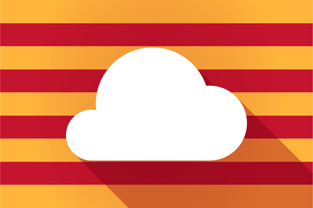 catalonia: Illustration of a long shadow Catalonia vector flag with a cloud