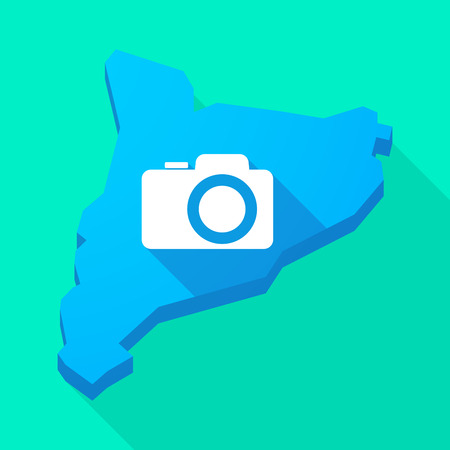 catalonia: Illustration of a Catalonia long shadow vector icon map with a photo camera