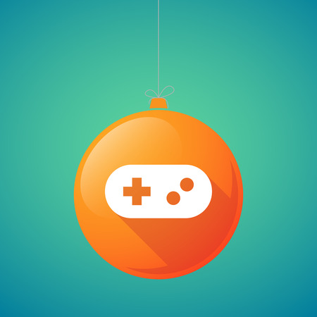 game pad: Illustration of a long shadow vector christmas ball icon with a game pad