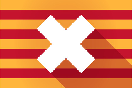 x country: Illustration of a long shadow Catalonia vector flag with an x sign