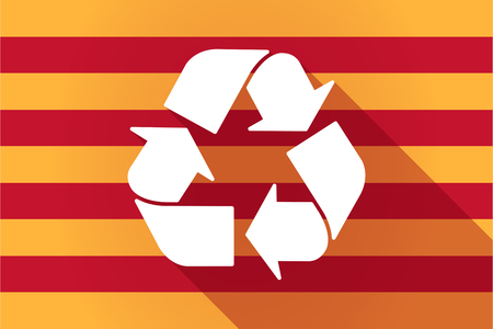 autonomy: Illustration of a long shadow Catalonia vector flag with a recycle sign