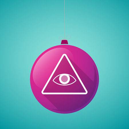 eye ball: Illustration of a long shadow vector christmas ball icon with an all seeing eye