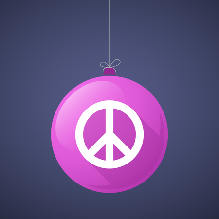 peace: Illustration of a long shadow vector christmas ball icon with a peace sign