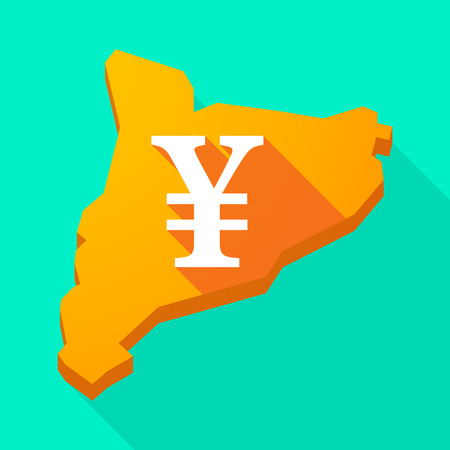 autonomy: Illustration of a Catalonia long shadow vector icon map with a yen sign