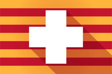 autonomia: Ilustraci�n de una larga sombra Catalu�a bandera de vectores con un signo de farmacia