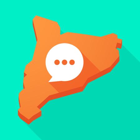 autonomia: Ilustración de una larga sombra icono de mapa vectorial Cataluña con un globo de cómic Vectores