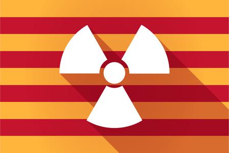radio activity: Illustration of a long shadow Catalonia vector flag with a radio activity sign