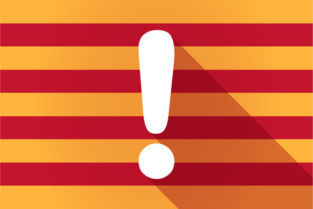 catalonia: Illustration of a long shadow Catalonia vector flag with an exclamarion sign