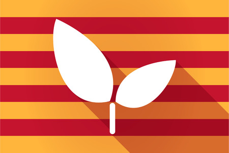catalonia: Illustration of a long shadow Catalonia vector flag with a plant
