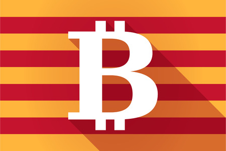 autonomy: Illustration of a long shadow Catalonia vector flag with a bit coin sign Illustration
