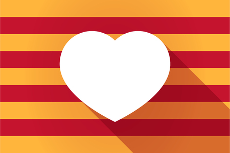 catalonia: Illustration of a long shadow Catalonia vector flag with a heart Illustration