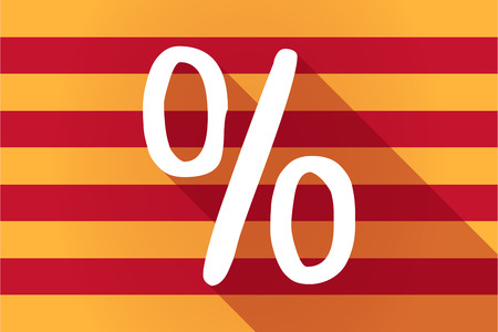 catalonia: Illustration of a long shadow Catalonia vector flag with a discount sign