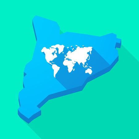 autonomia: Ilustración de una Cataluña larga sombra del icono del vector del mapa con un mapa del mundo