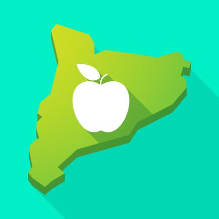 autonomia: Ilustración de una Cataluña larga sombra del icono del vector del mapa con una manzana