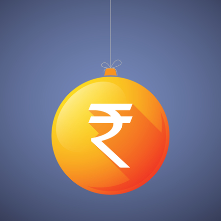 rupee: Illustration of a long shadow vector christmas ball icon with a rupee sign Illustration