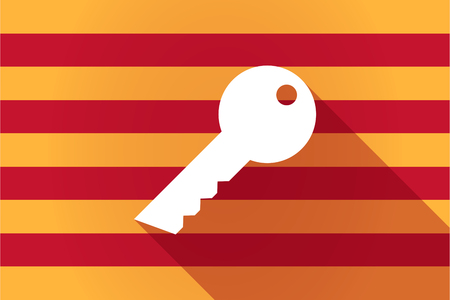 catalonia: Illustration of a long shadow Catalonia vector flag with a key