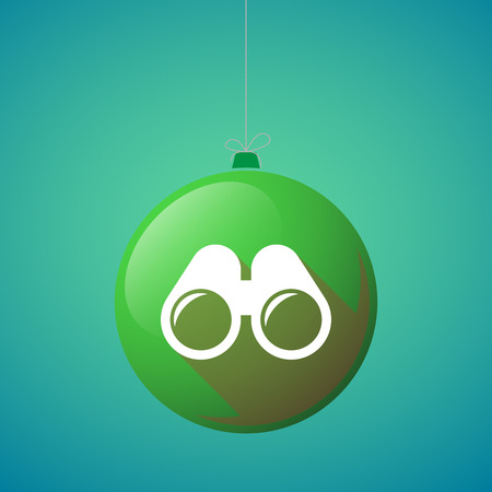 watch new year: Illustration of a long shadow vector christmas ball icon with a binoculars