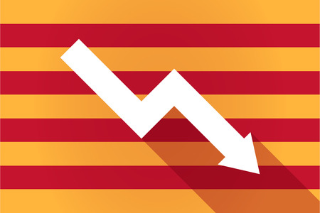 Illustration of a long shadow Catalonia vector flag with a descending graph Illustration