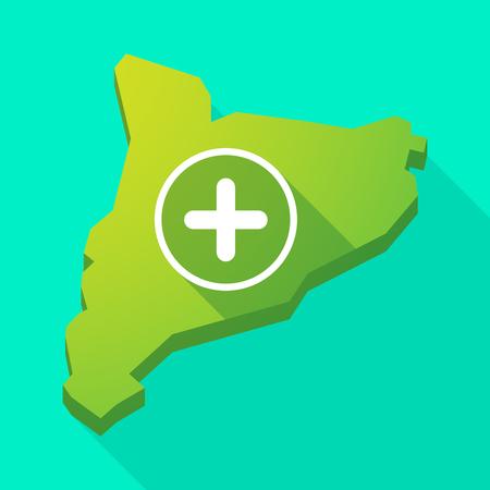 autonomia: Ilustraci�n de una larga sombra icono de mapa vectorial Catalu�a con un signo de suma