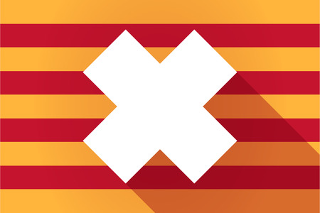 corrosive poison: Illustration of a long shadow Catalonia vector flag with an irritating substance sign