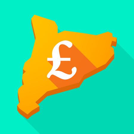 autonomia: Ilustraci�n de una larga sombra icono de mapa vectorial Catalu�a con un signo de libra