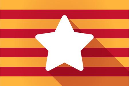 autonomia: Ilustraci�n de una larga sombra Catalu�a bandera del vector con una estrella
