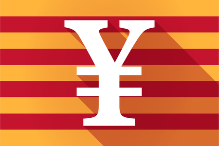 yen sign: Illustration of a long shadow Catalonia vector flag with a yen sign