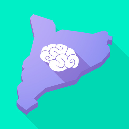 catalonia: Illustration of a Catalonia long shadow vector icon map with a brain Illustration