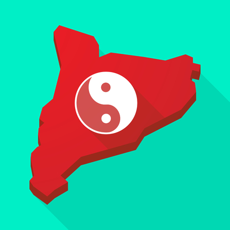 karma concept: Illustration of a Catalonia long shadow vector icon map with a ying yang Illustration