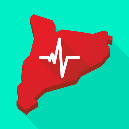 catalonia: Illustration of a Catalonia long shadow vector icon map with a heart beat sign Illustration