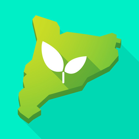 Illustration of a Catalonia long shadow vector icon map with a plant