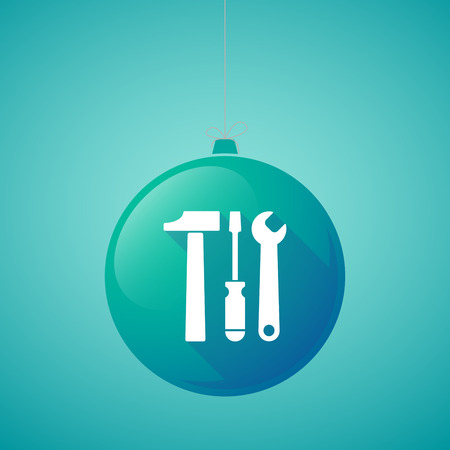 hardware tools: Illustration of a long shadow vector christmas ball icon with a tool set
