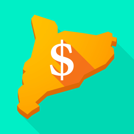 autonomia: Ilustración de una larga sombra icono de mapa vectorial Cataluña con un signo de dólar