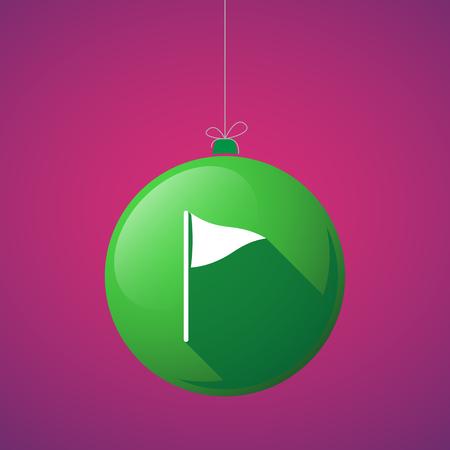 christmas golf: Illustration of a long shadow vector christmas ball icon with a golf flag Illustration