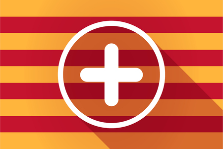 autonomia: Illustration of a long shadow Catalonia vector flag with a sum sign Vectores