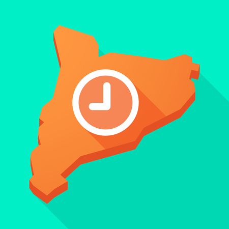 catalonia: Illustration of a Catalonia long shadow vector icon map with a clock