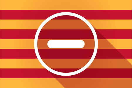 resta: Illustration of a long shadow Catalonia vector flag with a subtraction sign Vectores