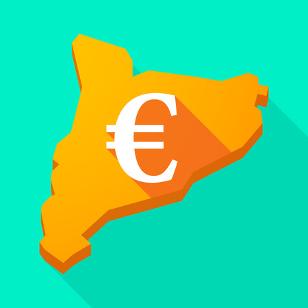financial official: Illustration of a Catalonia long shadow vector icon map with an euro sign
