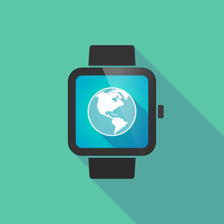digital world: Long shadow smart watch vector icon with an America region world globe