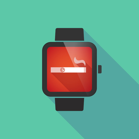 e cigarette: Long shadow smart watch vector icon with an electronic cigarette