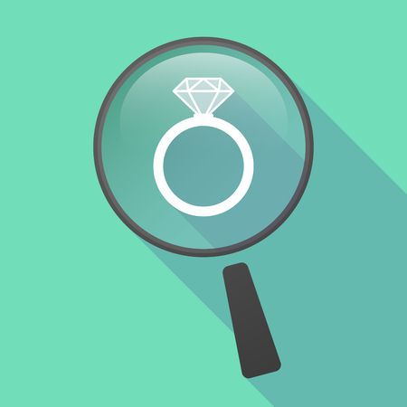 bague de fiancaille: Illustration of a long shadow magnifier vector icon with an engagement ring Illustration