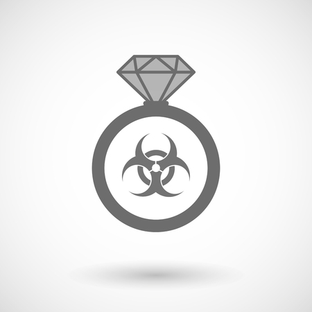 biological hazards: Illustration of an isolated vector ring icon with a biohazard sign