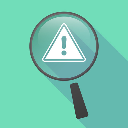 focus on shadow: Illustration of a long shadow magnifier vector icon with a warning signal