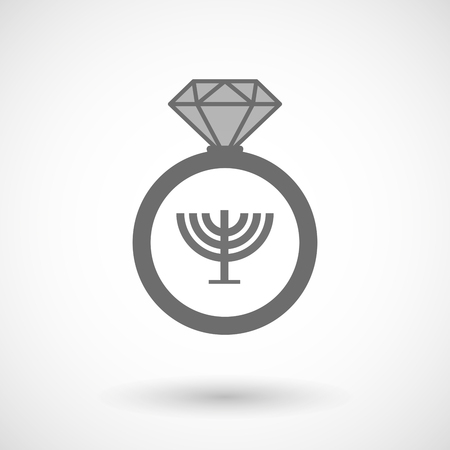 diamond candle: Illustration of an isolated vector ring icon with a chandelier